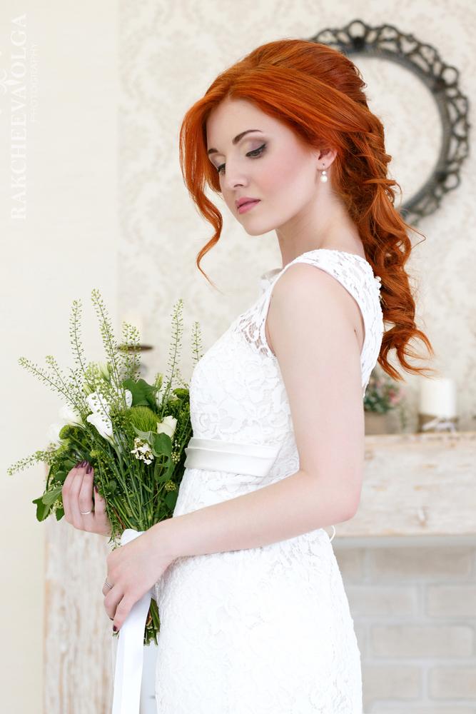 Свадебная прическа для рыжих волос