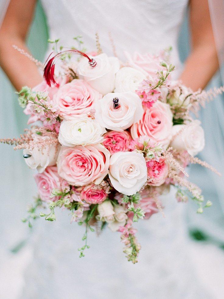 Свадебные букеты нежно розового цвета