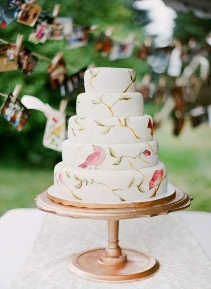 [5] Торт с рисунком птиц