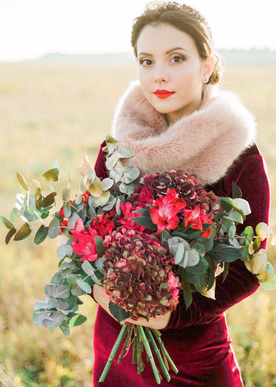 Осенние цветы в букете невесты