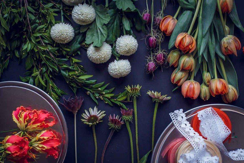 Цветочная кухня: оранжевые тюльпаны