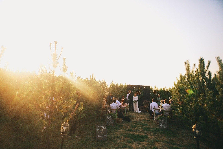 Теплая осень: уютная свадьба на закате