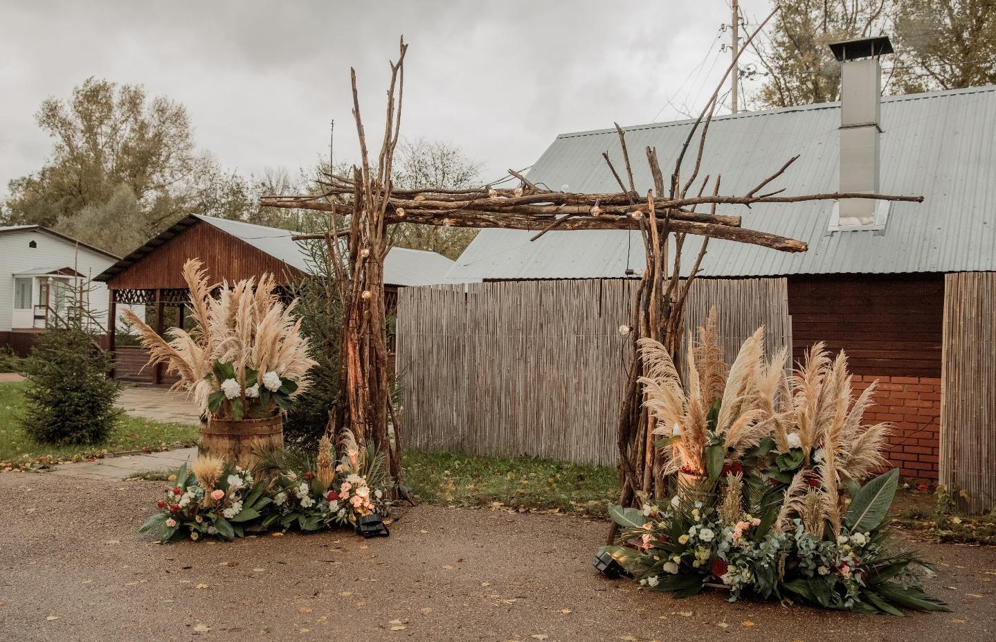 Осенняя бохо-свадьба на загородной площадке