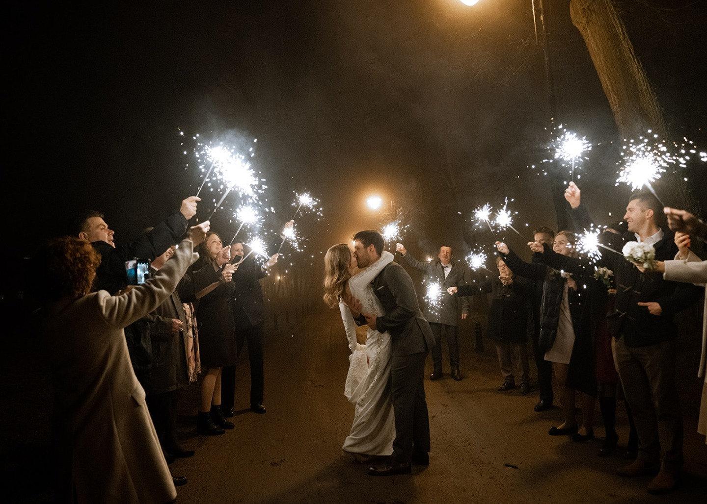 Волшебный зимний вечер: элегантная свадьба в замке