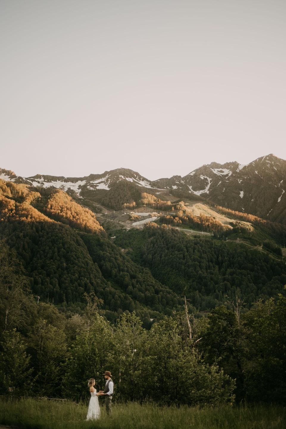 Boho chic: свадьба в горах, Красная Поляна